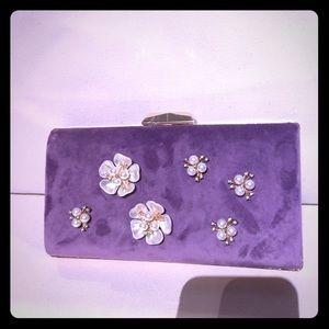 Purple Pearl flower clutch